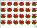 24 x Wales Flag Welsh Edible Wafer Rice Paper Cup Cake Toppers